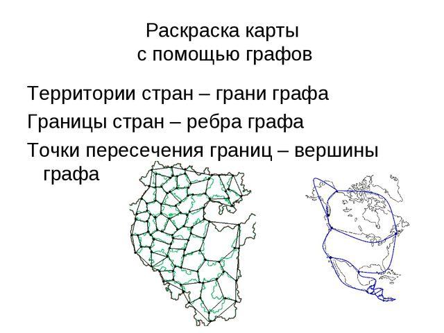 Раскраска карты с помощью графов Территории стран – грани графа Границы стран...