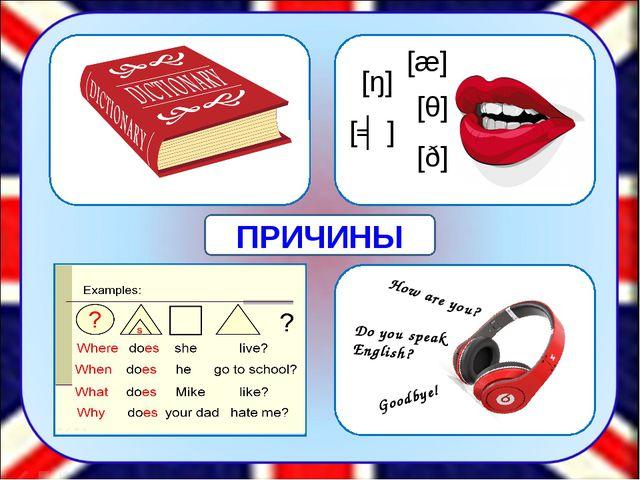 [æ] [θ] [ŋ] [ʤ] [ð] How are you? Do you speak English? Goodbye! ПРИЧИНЫ Одни...