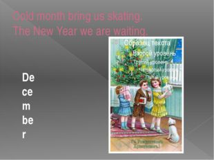 Cold month bring us skating. The New Year we are waiting. December