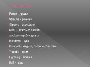 Vocabulary Ponds – пруды Streams – ручейки Slippery – скользкие Sleet – дождь