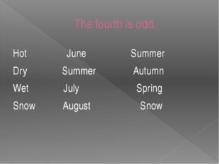 The fourth is odd. Hot June Summer Dry Summer Autumn Wet July Spring Snow Aug
