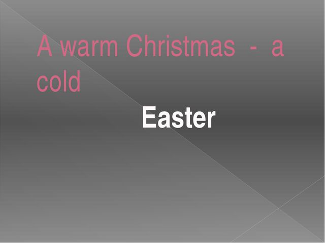 A warm Christmas - a cold Easter