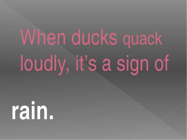 When ducks quack loudly, it's a sign of rain.