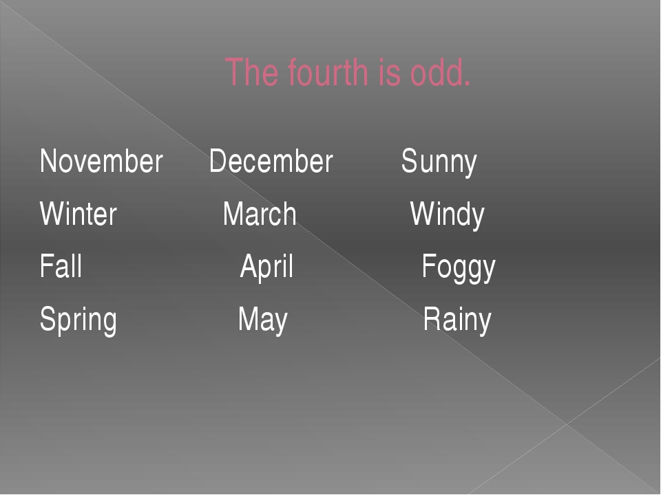 The fourth is odd. November December Sunny Winter March Windy Fall April Fogg...