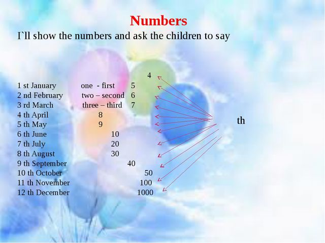 st Numbers I`ll show the numbers and ask the children to say 4 1 st January o...