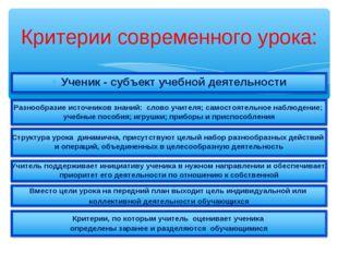 Критерии современного урока: