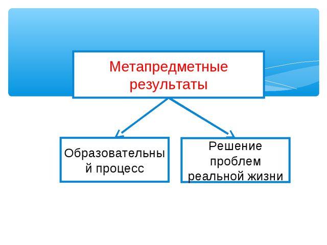 Метапредметные результаты Образовательный процесс Решение проблем реальной жи...