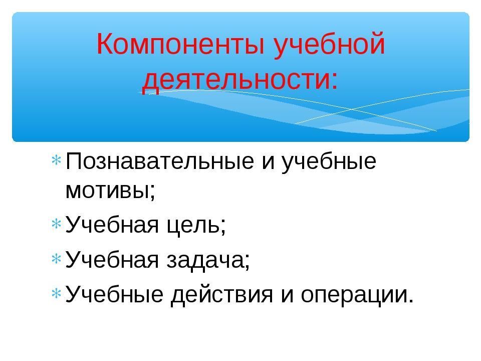 Познавательные и учебные мотивы; Учебная цель; Учебная задача; Учебные действ...
