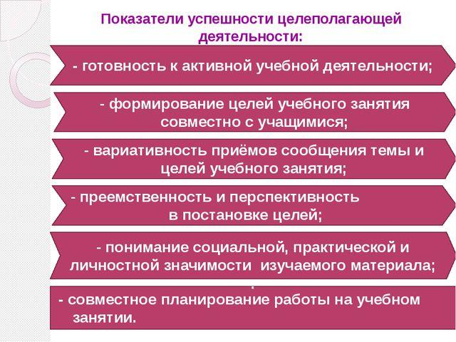 Показатели успешности целеполагающей деятельности: - совместное планирование...