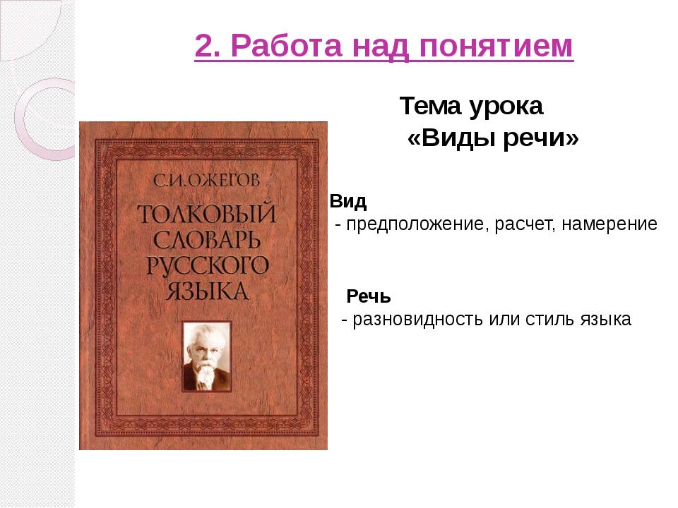 2. Работа над понятием Тема урока «Виды речи» Вид - предположение, расчет, н...