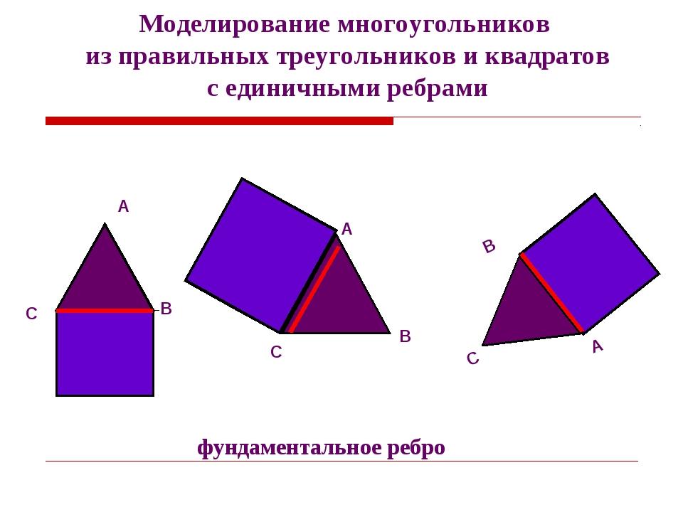 Моделирование многоугольников из правильных треугольников и квадратов с едини...
