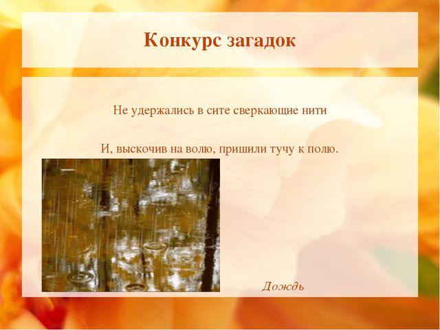 Конкурс загадок Не удержались в сите сверкающие нити И, выскочив на волю, при...