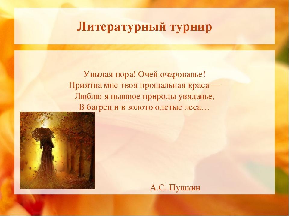 Литературный турнир Унылая пора! Очей очарованье! Приятна мне твоя прощальная...