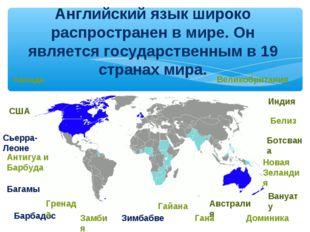 Английский язык широко распространен в мире. Он является государственным в 19