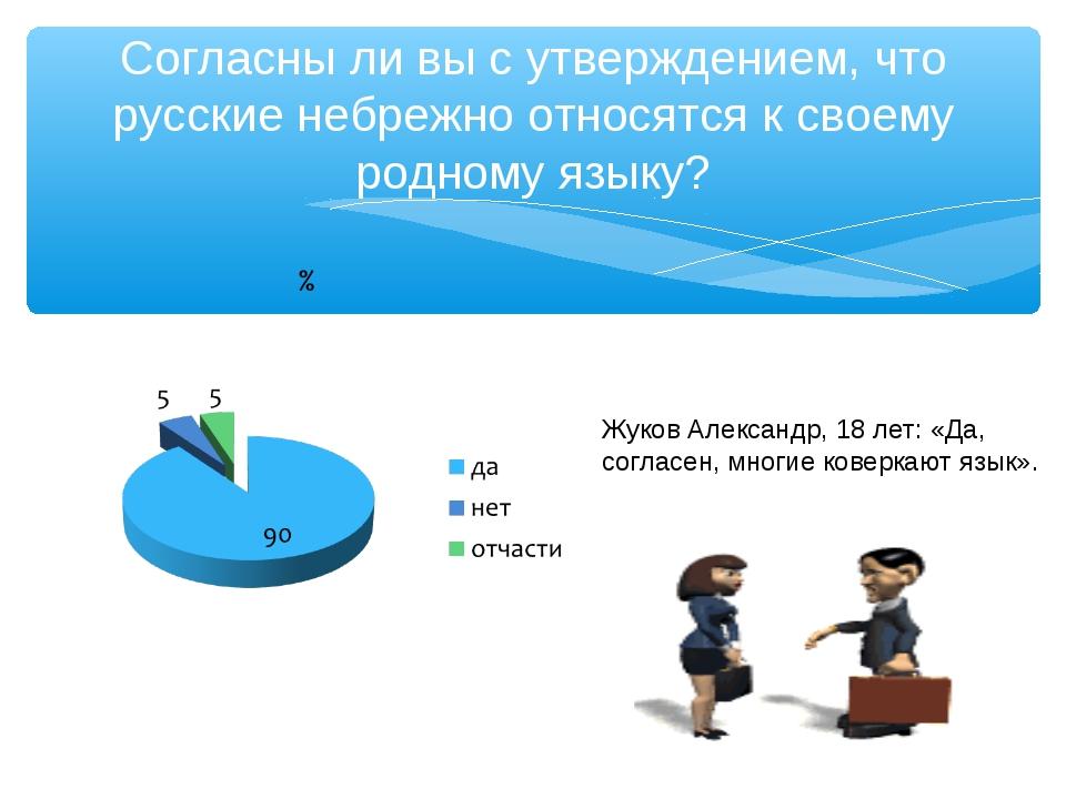 Согласны ли вы с утверждением, что русские небрежно относятся к своему родном...