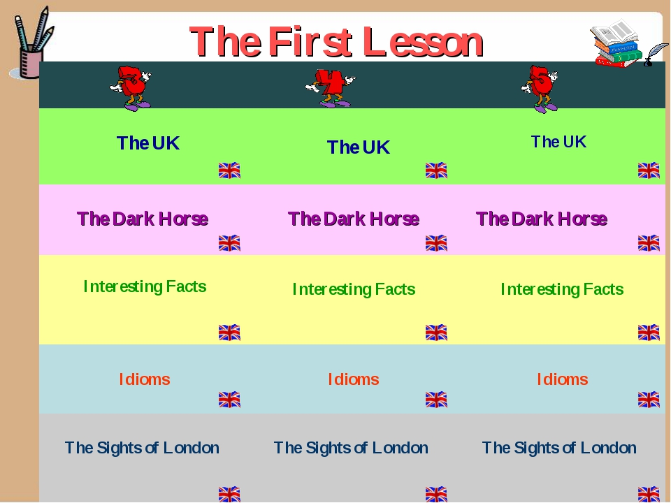 The First Lesson  The UK  The UK The UK The Dark Horse  The Dark Horse...