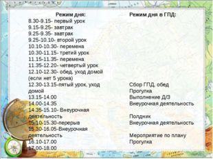 Режим дня: 8.30-9.15- первый урок 9.15-9.25- завтрак 9.25-9.35- завтрак 9.25-