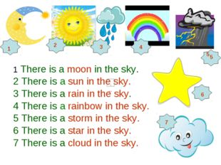 1 There is a moon in the sky. 2 There is a sun in the sky. 3 There is a rain