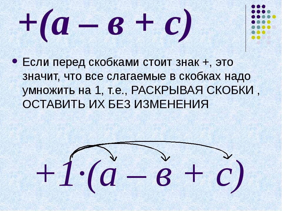Продолжить запись: -1·(а – в + с) = = …