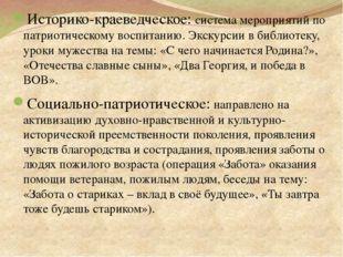 Историко-краеведческое: система мероприятий по патриотическому воспитанию. Э