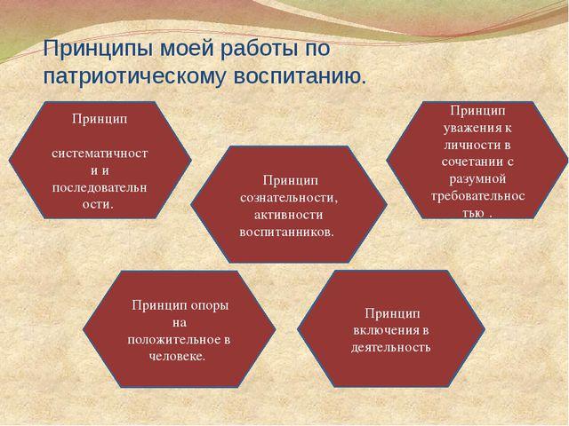 Принципы моей работы по патриотическому воспитанию. Принцип систематичности и...