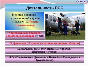 Слайд 26 Деятельность ПСС В состав поисково-спасательной службы (ПСС)МЧС Рос