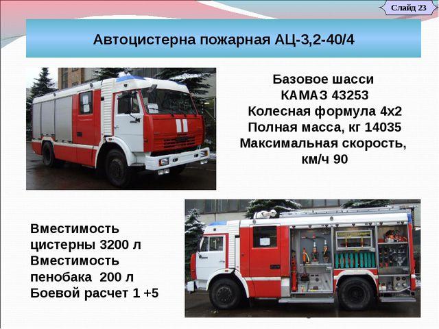 Слайд 23 Автоцистерна пожарная АЦ-3,2-40/4 Базовое шасси КАМАЗ 43253 Колесна...