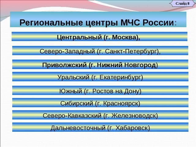 Региональные центры МЧС России: Слайд 8 Центральный (г. Москва), Северо-Кавка...