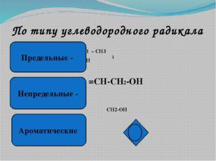 По типу атома углерода, связанного с группой - ОН СН3-СН2-СН2-ОН СН3-СН-СН3 О