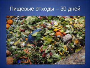 Пищевые отходы – 30 дней