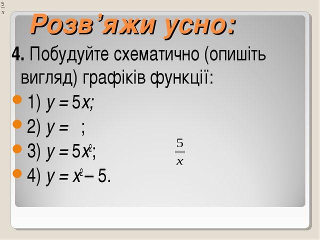 Розв'яжи усно: 4. Побудуйте схематично (опишіть вигляд) графіків функції: 1)...
