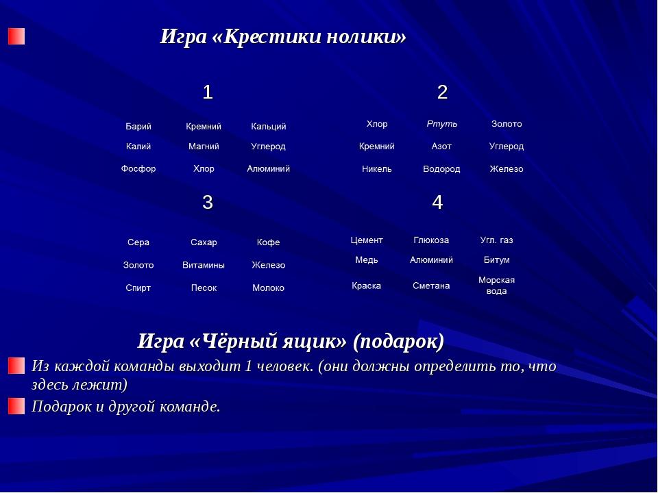 Игра «Крестики нолики» 1 2 3 4 Игра «Чёрный ящик» (подарок) Из каждой команд...