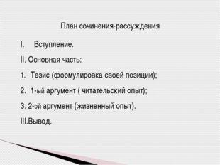 План сочинения-рассуждения Вступление. II. Основная часть: Тезис (формулировк