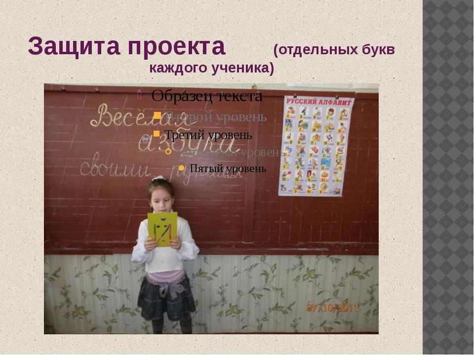Защита проекта (отдельных букв каждого ученика)