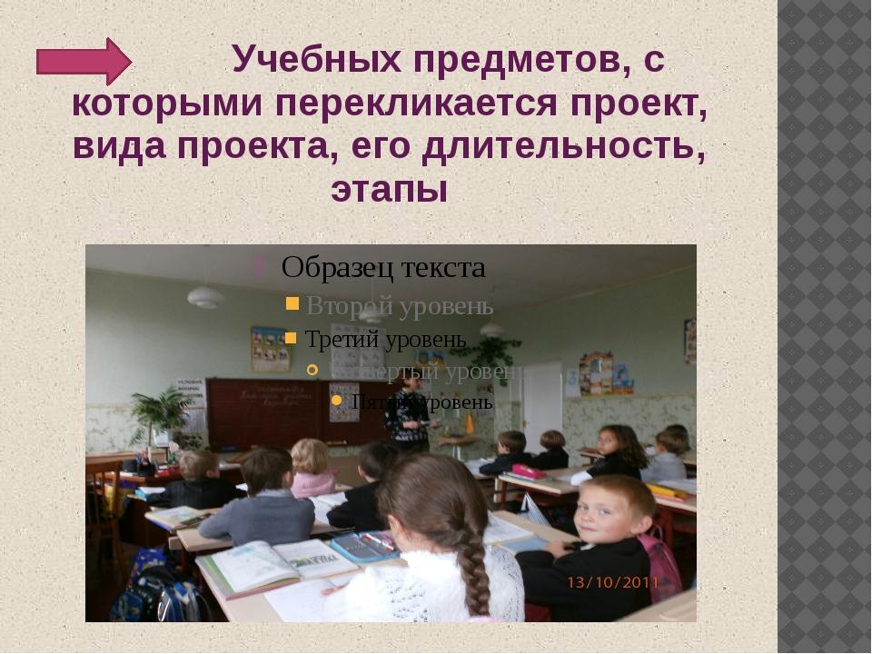 Учебных предметов, с которыми перекликается проект, вида проекта, его длител...