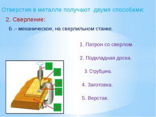 Отверстия в металле получают двумя способами: 2. Сверление: Б .- механическое