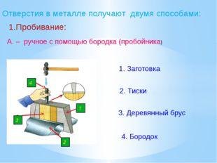 Отверстия в металле получают двумя способами: 1.Пробивание: А. – ручное с пом