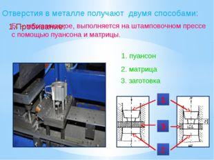 Отверстия в металле получают двумя способами: 1.Пробивание: Б. – механическое