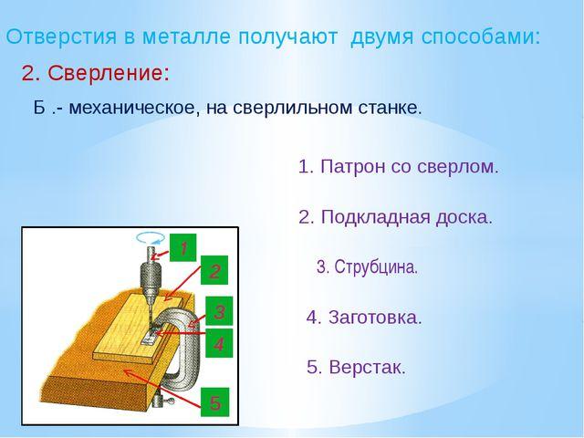 Отверстия в металле получают двумя способами: 2. Сверление: Б .- механическое...