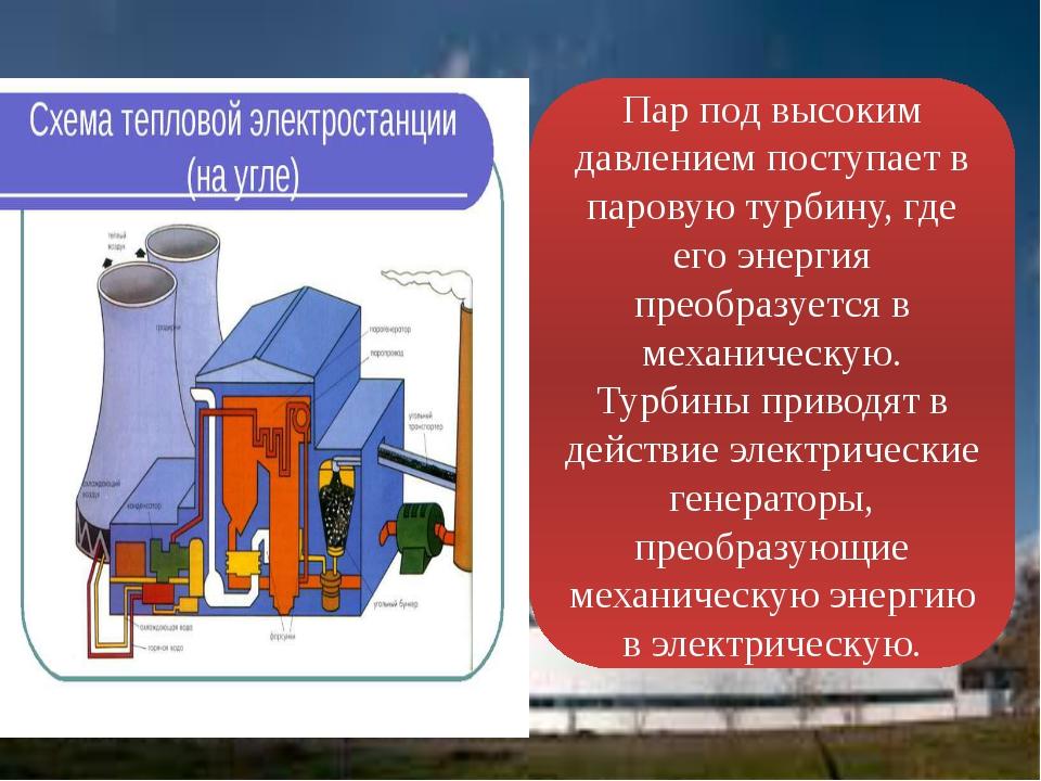 Пар под высоким давлением поступает в паровую турбину, где его энергия преобр...