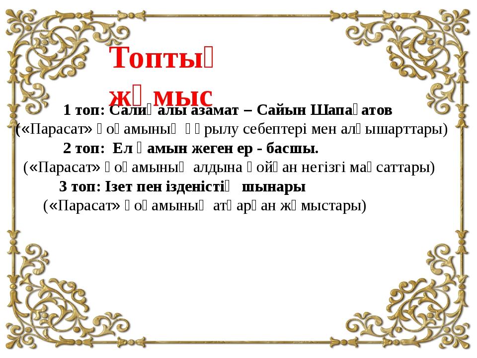 1 топ: Салиқалы азамат – Сайын Шапағатов («Парасат» қоғамының құрылу себепте...