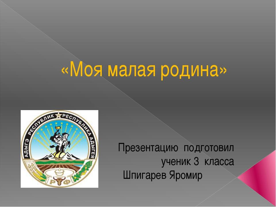«Моя малая родина» Презентацию подготовил ученик 3 класса Шпигарев Яромир