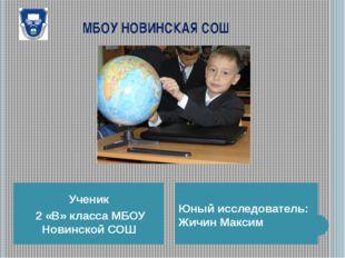 МБОУ НОВИНСКАЯ СОШ Ученик 2 «В» класса МБОУ Новинской СОШ Юный исследователь