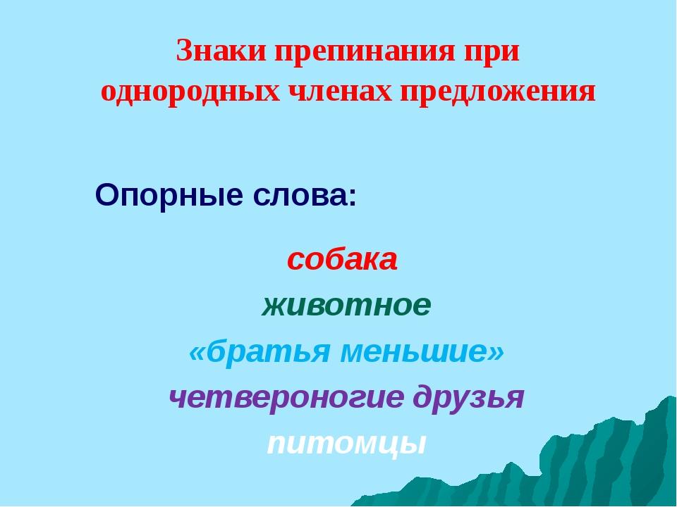 Опорные слова: собака животное «братья меньшие» четвероногие друзья питомцы...