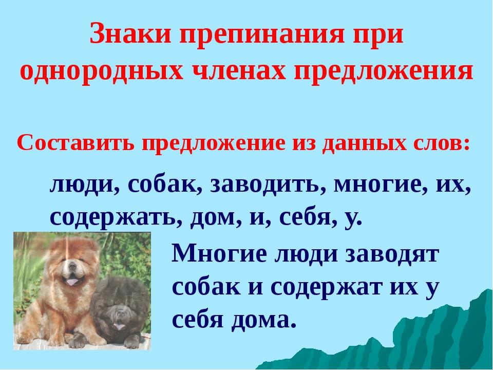 Знаки препинания при однородных членах предложения люди, собак, заводить, мно...