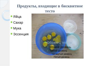 Продукты, входящие в бисквитное тесто Яйца Сахар Мука Эссенция