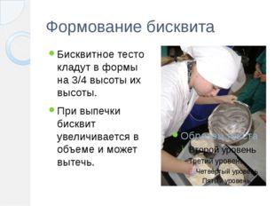 Формование бисквита Бисквитное тесто кладут в формы на 3/4 высоты их высоты.