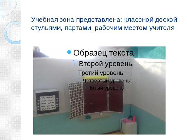 Учебная зона представлена: классной доской, стульями, партами, рабочим местом...
