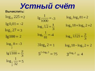 Вычислить: Устный счёт 2 -2 3 2 -3 5 -3 -4 1 75 2 2 2 4