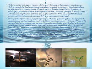 Из всех жидкостей, кроме ртути, у воды самое большое поверхностное натяжение.